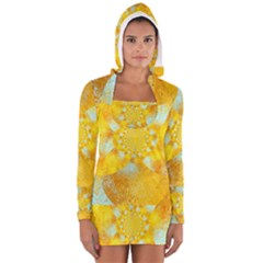 Gold Blue Abstract Blossom Women s Long Sleeve Hooded T Shirt