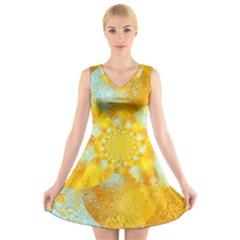 Gold Blue Abstract Blossom V Neck Sleeveless Skater Dress