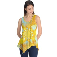 Gold Blue Abstract Blossom Sleeveless Tunic
