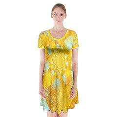 Gold Blue Abstract Blossom Short Sleeve V Neck Flare Dress