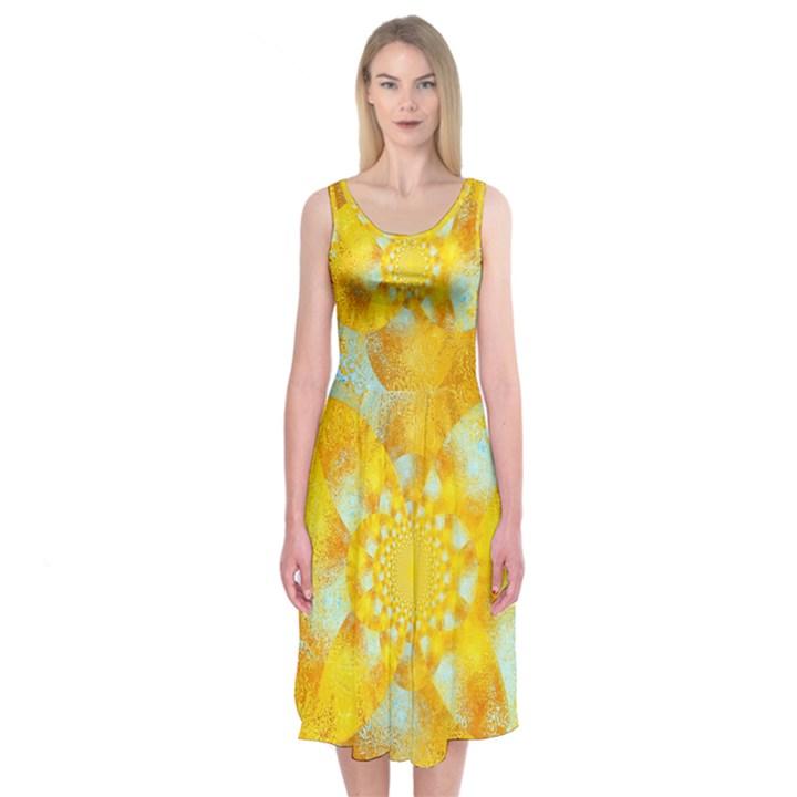 Gold Blue Abstract Blossom Midi Sleeveless Dress