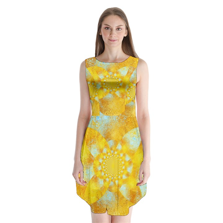 Gold Blue Abstract Blossom Sleeveless Chiffon Dress