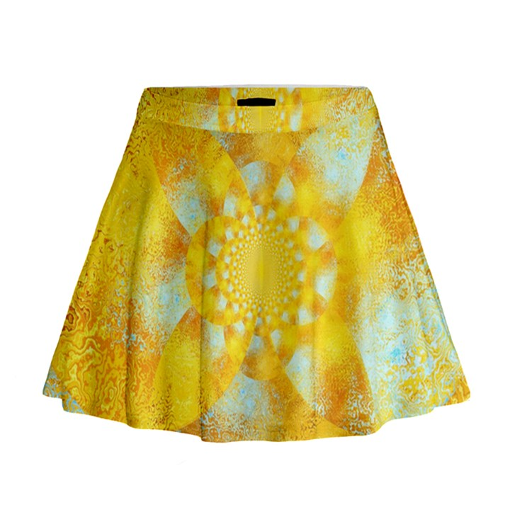 Gold Blue Abstract Blossom Mini Flare Skirt