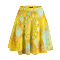 Gold Blue Abstract Blossom High Waist Skirt by designworld65