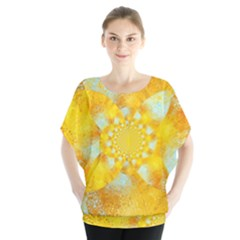 Gold Blue Abstract Blossom Blouse