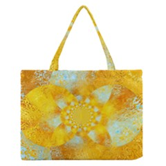 Gold Blue Abstract Blossom Medium Zipper Tote Bag by designworld65