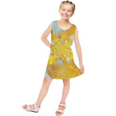 Gold Blue Abstract Blossom Kids  Tunic Dress by designworld65