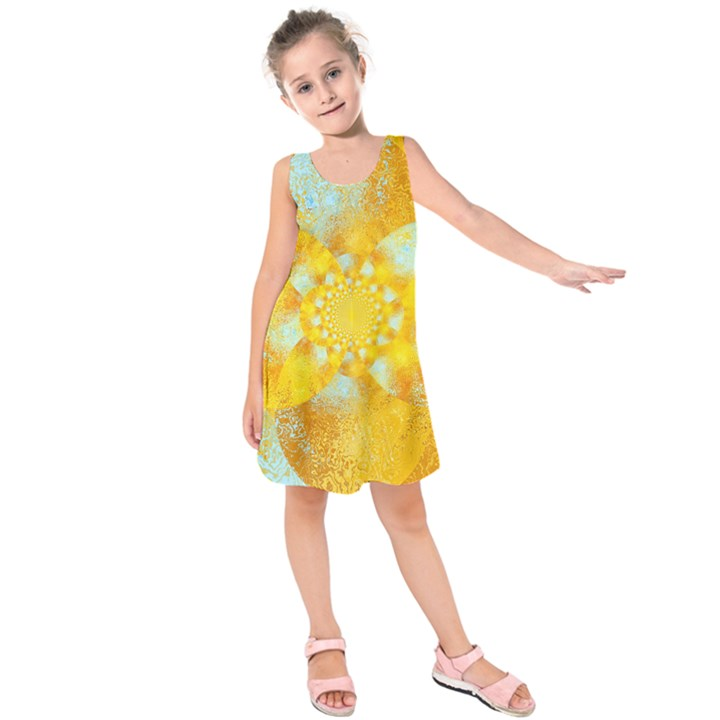 Gold Blue Abstract Blossom Kids  Sleeveless Dress