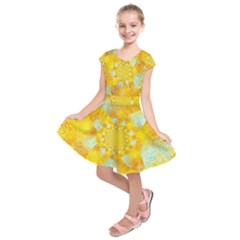Gold Blue Abstract Blossom Kids  Short Sleeve Dress