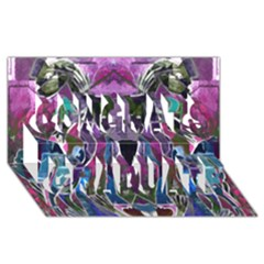 Sly Dog Modern Grunge Style Blue Pink Violet Congrats Graduate 3d Greeting Card (8x4) by EDDArt