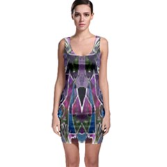 Sly Dog Modern Grunge Style Blue Pink Violet Sleeveless Bodycon Dress by EDDArt