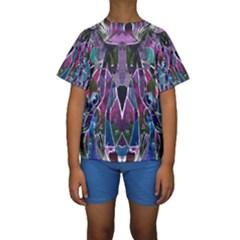 Sly Dog Modern Grunge Style Blue Pink Violet Kids  Short Sleeve Swimwear by EDDArt