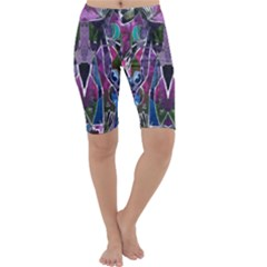 Sly Dog Modern Grunge Style Blue Pink Violet Cropped Leggings  by EDDArt