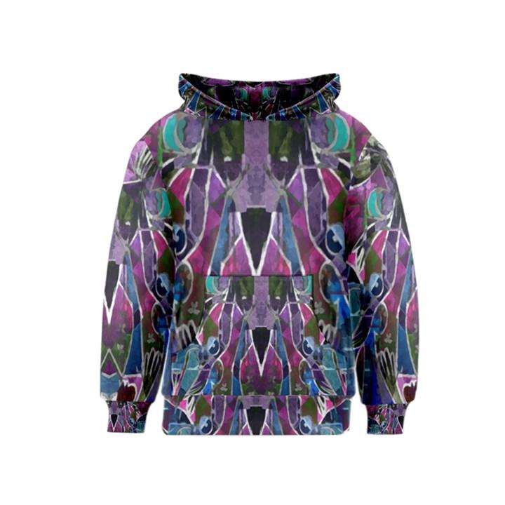 Sly Dog Modern Grunge Style Blue Pink Violet Kids  Pullover Hoodie