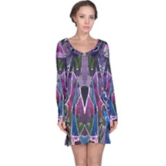 Sly Dog Modern Grunge Style Blue Pink Violet Long Sleeve Nightdress by EDDArt