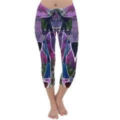 Sly Dog Modern Grunge Style Blue Pink Violet Capri Winter Leggings