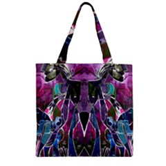 Sly Dog Modern Grunge Style Blue Pink Violet Zipper Grocery Tote Bag by EDDArt