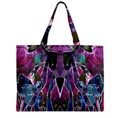 Sly Dog Modern Grunge Style Blue Pink Violet Zipper Mini Tote Bag by EDDArt