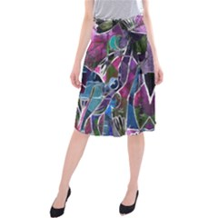 Sly Dog Modern Grunge Style Blue Pink Violet Midi Beach Skirt by EDDArt