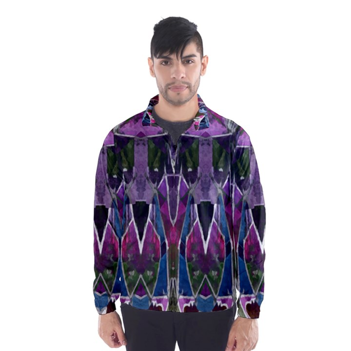 Sly Dog Modern Grunge Style Blue Pink Violet Wind Breaker (Men)