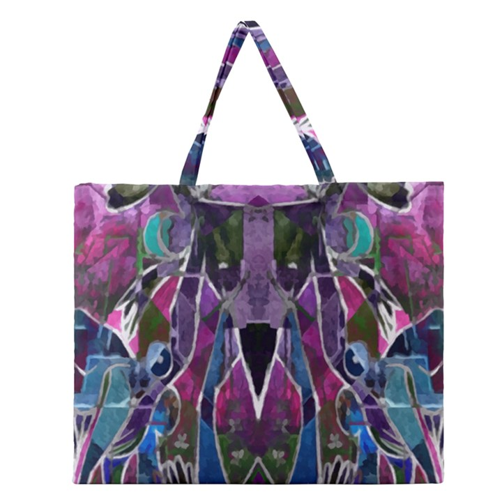 Sly Dog Modern Grunge Style Blue Pink Violet Zipper Large Tote Bag