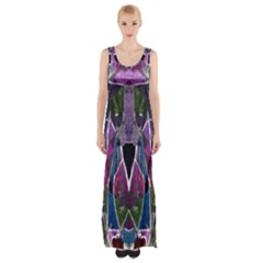 Sly Dog Modern Grunge Style Blue Pink Violet Maxi Thigh Split Dress by EDDArt