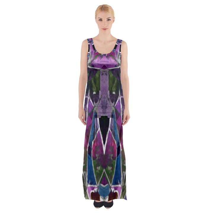 Sly Dog Modern Grunge Style Blue Pink Violet Maxi Thigh Split Dress