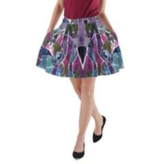 Sly Dog Modern Grunge Style Blue Pink Violet A Line Pocket Skirt