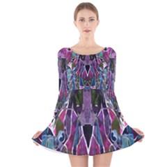 Sly Dog Modern Grunge Style Blue Pink Violet Long Sleeve Velvet Skater Dress by EDDArt