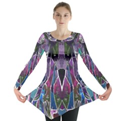 Sly Dog Modern Grunge Style Blue Pink Violet Long Sleeve Tunic  by EDDArt