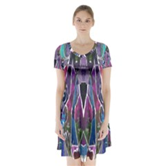 Sly Dog Modern Grunge Style Blue Pink Violet Short Sleeve V Neck Flare Dress by EDDArt