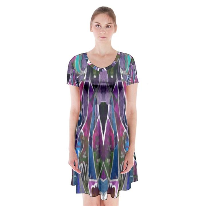 Sly Dog Modern Grunge Style Blue Pink Violet Short Sleeve V-neck Flare Dress