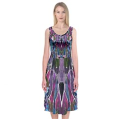 Sly Dog Modern Grunge Style Blue Pink Violet Midi Sleeveless Dress by EDDArt