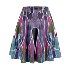 Sly Dog Modern Grunge Style Blue Pink Violet High Waist Skirt by EDDArt