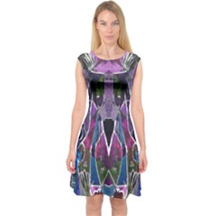 Sly Dog Modern Grunge Style Blue Pink Violet Capsleeve Midi Dress by EDDArt