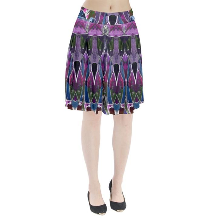 Sly Dog Modern Grunge Style Blue Pink Violet Pleated Skirt