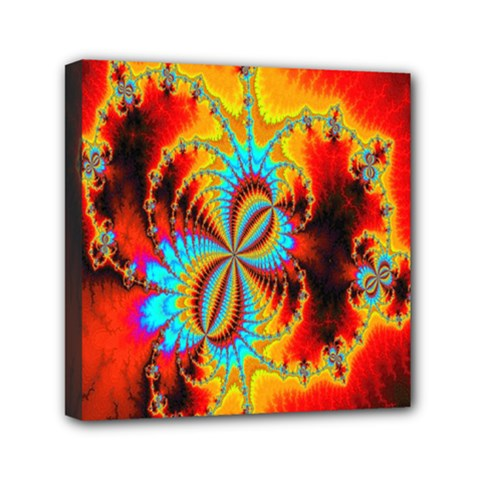 Crazy Mandelbrot Fractal Red Yellow Turquoise Mini Canvas 6  x 6