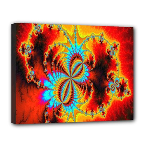 Crazy Mandelbrot Fractal Red Yellow Turquoise Canvas 14  X 11  by EDDArt