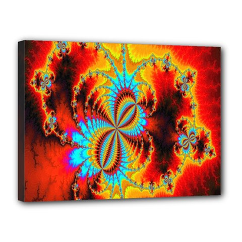 Crazy Mandelbrot Fractal Red Yellow Turquoise Canvas 16  X 12  by EDDArt