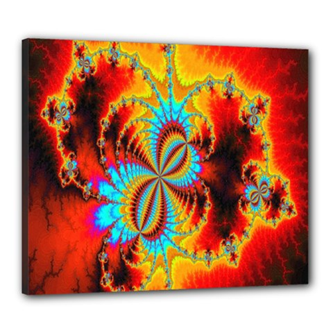 Crazy Mandelbrot Fractal Red Yellow Turquoise Canvas 24  X 20  by EDDArt
