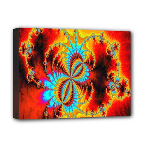 Crazy Mandelbrot Fractal Red Yellow Turquoise Deluxe Canvas 16  X 12   by EDDArt