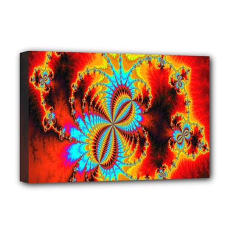 Crazy Mandelbrot Fractal Red Yellow Turquoise Deluxe Canvas 18  X 12