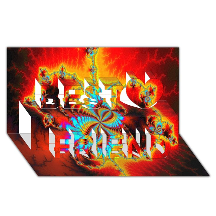 Crazy Mandelbrot Fractal Red Yellow Turquoise Best Friends 3D Greeting Card (8x4)