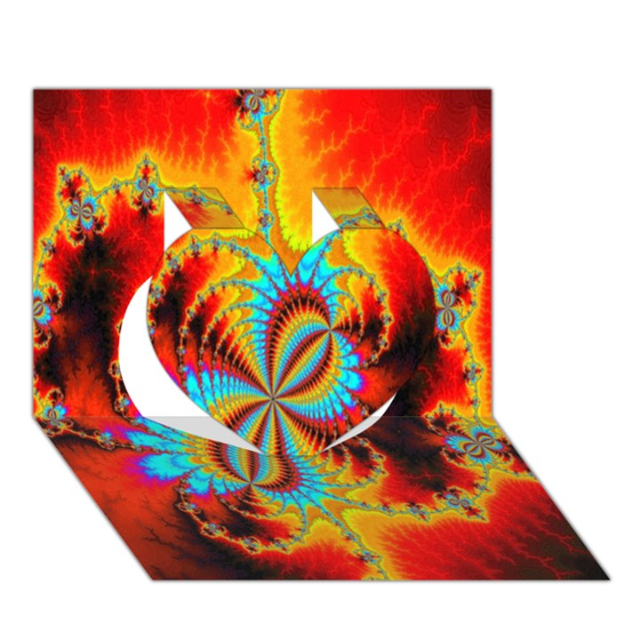 Crazy Mandelbrot Fractal Red Yellow Turquoise Heart 3D Greeting Card (7x5)