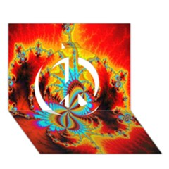 Crazy Mandelbrot Fractal Red Yellow Turquoise Peace Sign 3d Greeting Card (7x5) by EDDArt