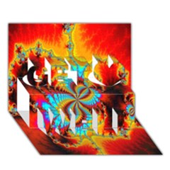 Crazy Mandelbrot Fractal Red Yellow Turquoise Get Well 3d Greeting Card (7x5)