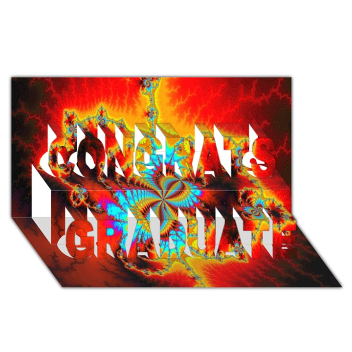 Crazy Mandelbrot Fractal Red Yellow Turquoise Congrats Graduate 3D Greeting Card (8x4)