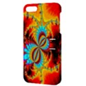 Crazy Mandelbrot Fractal Red Yellow Turquoise Apple iPhone 5 Hardshell Case with Stand View3