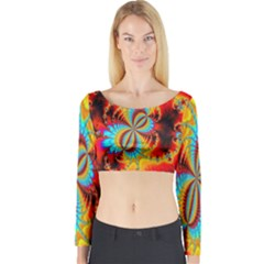 Crazy Mandelbrot Fractal Red Yellow Turquoise Long Sleeve Crop Top