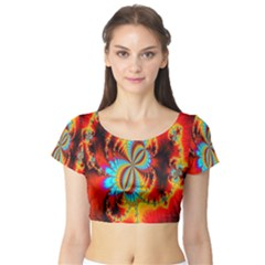 Crazy Mandelbrot Fractal Red Yellow Turquoise Short Sleeve Crop Top (tight Fit) by EDDArt